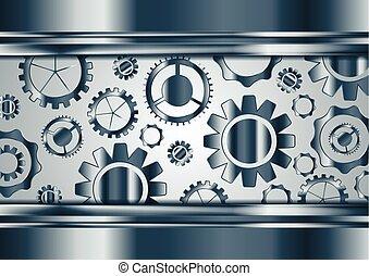 Blue chrome vector gears mechanism background