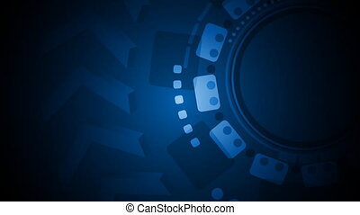 Dark blue tech gear video animation background - Dark blue...