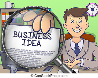 Business Idea through Magnifier Doodle Concept - Business...