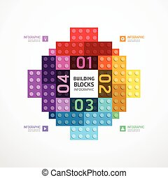 Infographic color building blocks banner Template. concept vector illustration