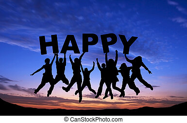 "Crowd of friends jumping with ""HAPPY"" on blue sky background"