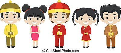 Set of Kids wearing Chinese Costume - Vector Illustration of...