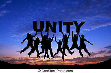 "Crowd of friends jumping with ""UNITY"" on blue sky background"
