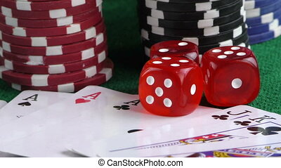 Red Dice Poker Cards and Money Chip - Gambling Red Dice...