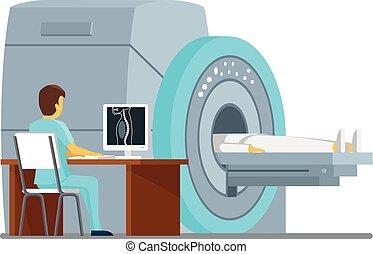 MRI scan and diagnostics Health care vector concept - MRI...