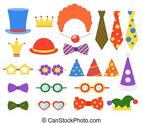 Circus photo booth vector set. Booth mask, birthday element...