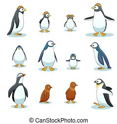 Penguins characters in various poses vector set