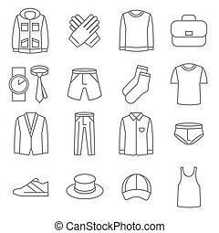 Mens clothes vector line icons set Fashion clothes, icon man...