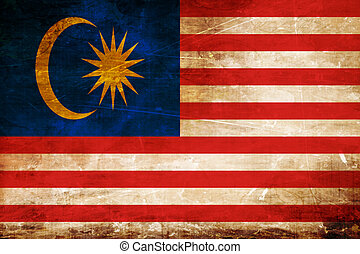Malaysia flag with some soft highlights and folds