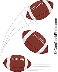 Set of Football being thrown - Vector Illustration of Set of...