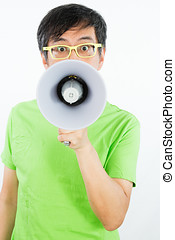 Asian Chinese Man Holding a Megaphone in isolated White...