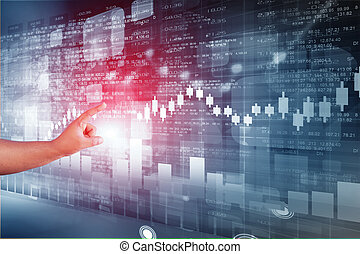 Business man touching stock market