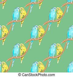 Parrot Australian Colorful - Seamless pattern with dotted...