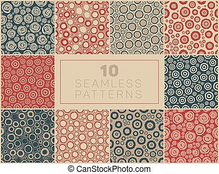 Seamless Hand Drawn Rough Circle Round Shapes Jumble Patterns