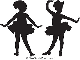 Silhouette small friends - Silhouette girls play