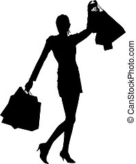 Shopping mania - Happy silhouette girl