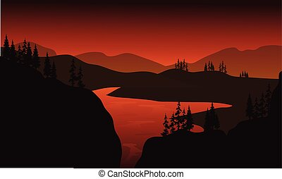 Silhouette of lake with brown backgrounds