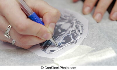 Female tattoo artist drawing Dinosaur sketch - tattoo artist...
