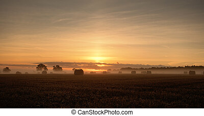 warm autumn rural sunrise
