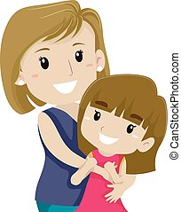Mother Hugging her Daughter - Vector Illustration of Mother...