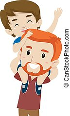 Father Son doing Piggy Back Ride - Vector Illustration of...