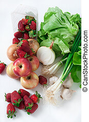 Fruits and vegetables - Fresh fruits and vegetables on desk