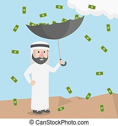 money rain with an umbrella businessman arabian pick