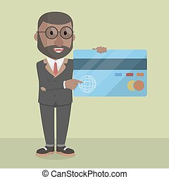 businessman showing credit card