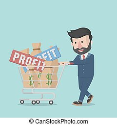 businessman pick up the company profit with trolley