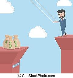 businessman take to a profit
