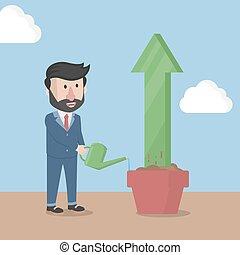 businessman hose arrow