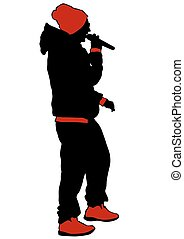 Hip hop singer - Hip hop dancer on white background
