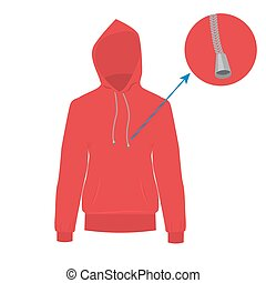 Hooded sweater. Vector Hoodie with solid and flat color design.