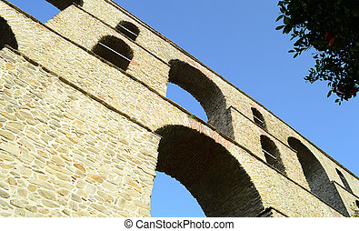 Ruins of ancient medieval aqueduct in Kavala, Greece