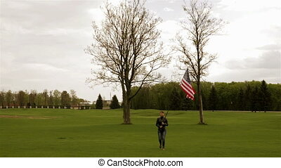The girl and the flag of America
