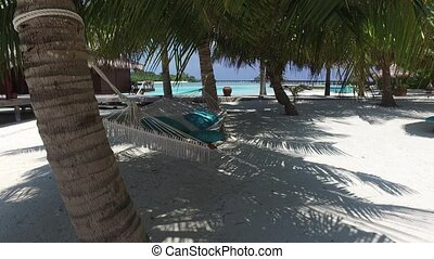 hammock at hotel resort on tropical beach - travel, tourism,...