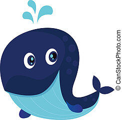 Big blue ocean cartoon whale - Vector Illustration of happy...
