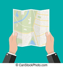 Paper Map In Hand Vector Illustration