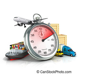 conceptual background of fast timely delivery 3d...