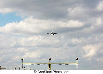 landing approach - Passenger airplane approaching landing...