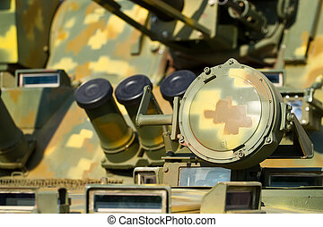 Detail of military tank - Detail of headlight on military...