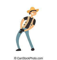 Guy In Cowboy Hat With Camera