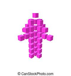 Purple arrow made of squares - Arrow made of squares cartoon...