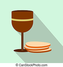 Chalice of wine and wafers flat icon