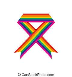 Rainbow ribbon flat icon isolated on white background