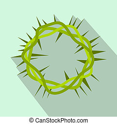 Crown of thorns flat icon on a light blue background
