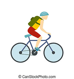 Tourist riding a bicycle with backpack