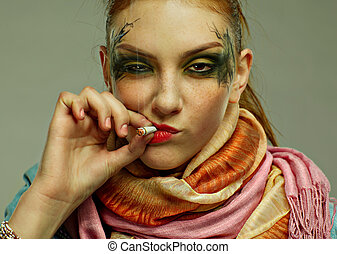 glam punk girl - portrait of glam punk redhead girl smoking...