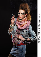 glam punk girl smoking - portrait of glam punk redhead girl...