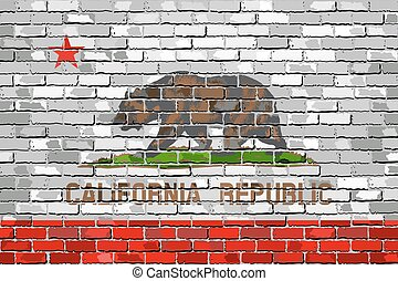 Flag of California on a brick wall - Illustration, The flag...